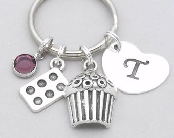 Bakers cupcake keyring with heart initial  b84b3cf84