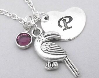 06dea2b603 Toucan bird cuore iniziale collana   collana di fascino Tucano   Ciondolo  di Tucano   Collana personalizzato Tucano   gioielli di tucano uccello    lettera