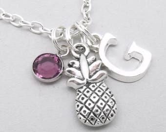 Pineapple monogram necklace | pineapple charm necklace | pineapple pendant | personalised pineapple necklace | pineapple jewelry