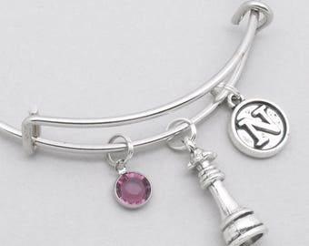 Chess queen bracelet with vintage style initial | chess bangle | chess jewellery | personalised chess gift