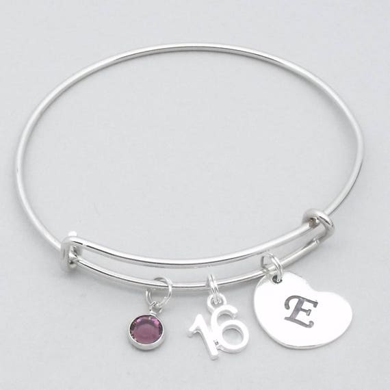 16th Birthday Heart Initial Bracelet 16th Birthday Jewelry