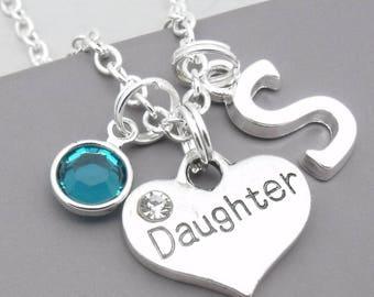 Daughter monogram initial necklace   daughter pendant   personalised daughter necklace   daughter jewelry   daughter gift