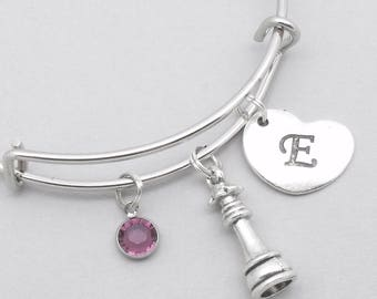 Chess queen bracelet with heart initial | chess bangle | chess jewellery | personalised chess gift