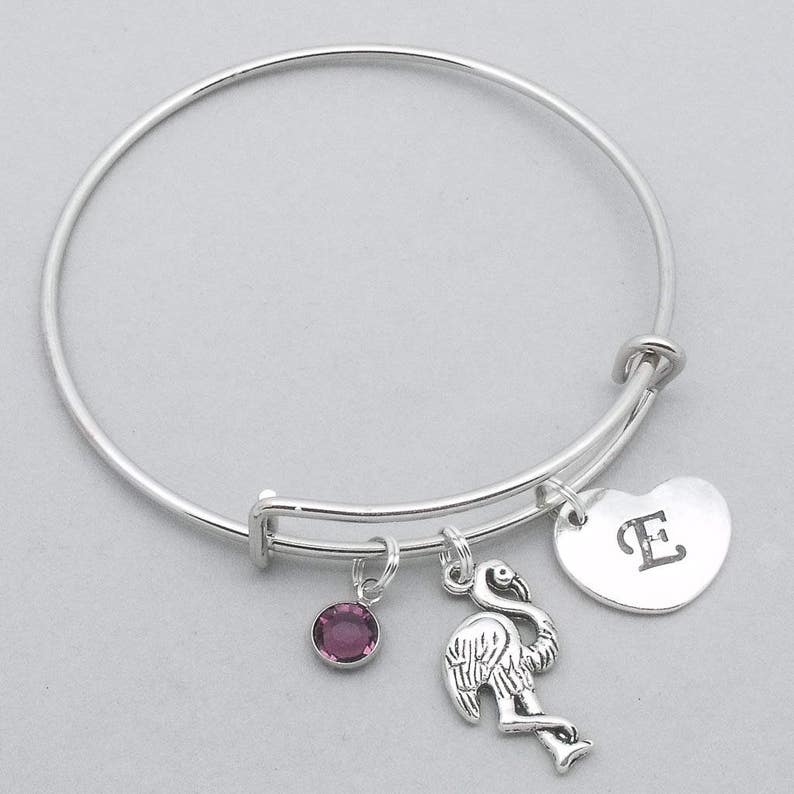 f9020f1627fa Flamingo heart initial bracelet flamingo bangle