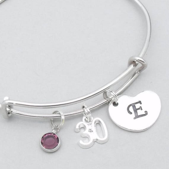 30th birthday heart initial bracelet