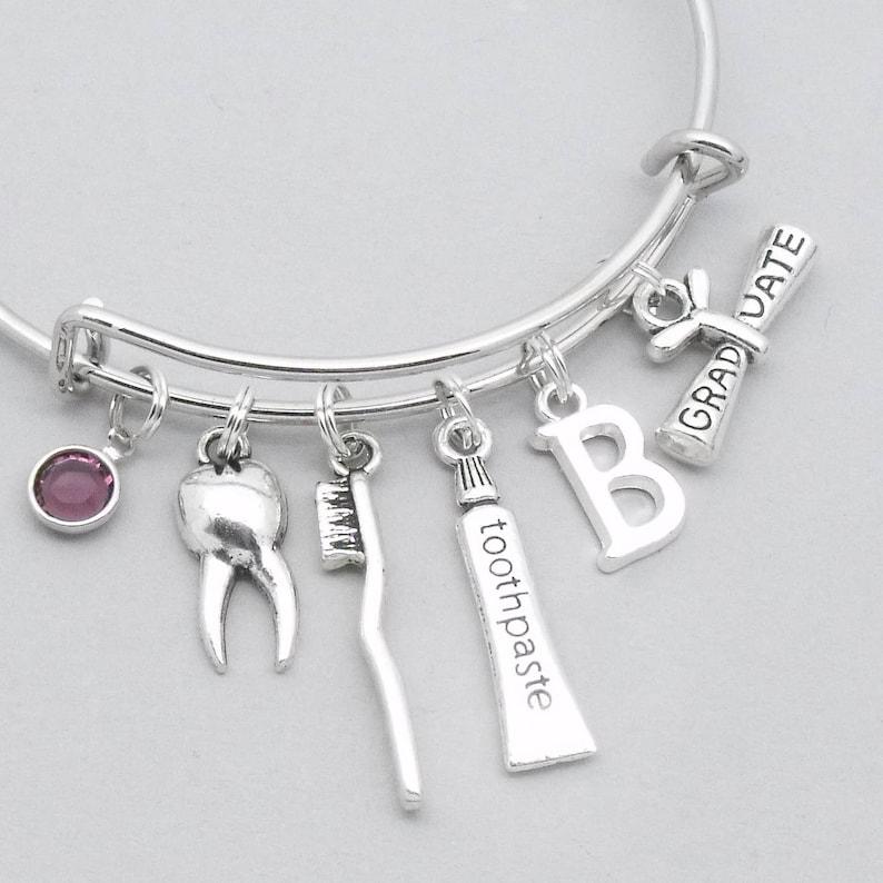 dental hygienist gift dentist graduation dentist gift teeth Dental graduation toothbrush /& toothpaste bracelet with monogram initial