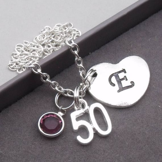 50th Birthday Heart Initial Necklace 50th Birthday