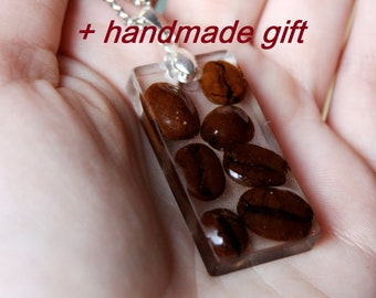 Coffee necklace Coffee beans lover Jewelry Coffee bean Pendant Epoxy Resin Real coffee bean Boho necklace charm Food jewelry Gift for her