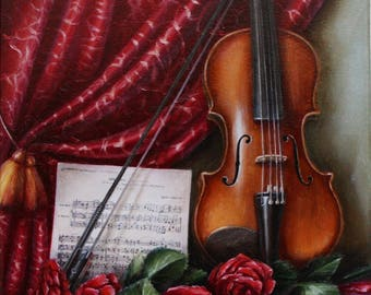 Still life painting violin Oil painting Art Realistic painting Original Paint on canvas Rose Wall art Oil on canvas Realism painting Gift