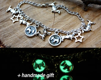 Glow in the dark bracelet Luminous Dogs Dachshund Jewelry for kids Green Mothers day Girlfriend her Gift Original Silver Color Best Friend
