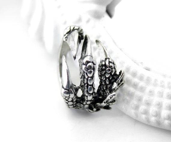 Unisex Gothic Punk Steampunk Titanium Fantasy Dragon Claw Ring Adjustable