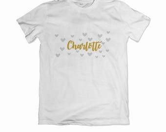 Personalised children's gold name with scattered hearts t-shirt