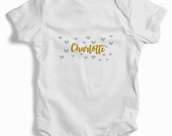 Personalised gold name with scattered hearts White Baby Grow (bodysuit)