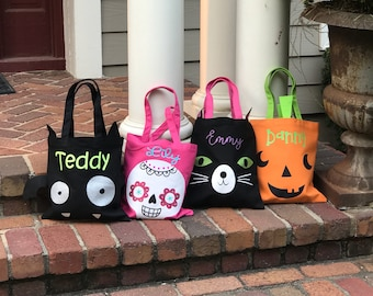 personalized halloween bag trick or treat tote monogrammed halloween bag halloween treat baghalloween tote bag candy bag