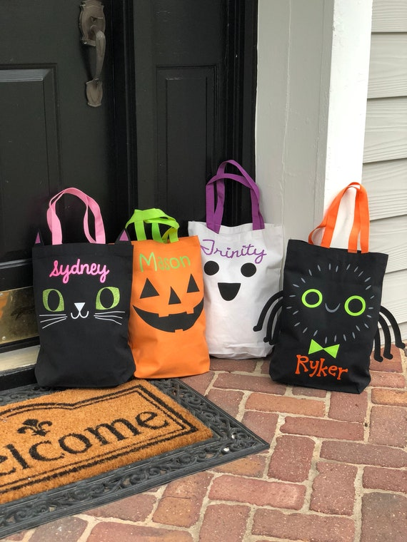 personalized halloween bag trick or treat tote monogrammed etsy