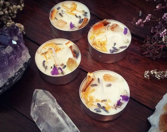 Happiness Spell Candle / Spell Candles for Joy, Happiness, Peace / Botanical Tealight / Peace Spells, Happiness Candle Magick