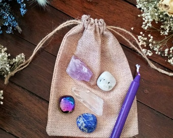 Psychic Crystal Set / Psychic Energy Growth, Intuition Ability Crystal Pack / Divination Crystals, Tarot Reading Crystal Set, Crystal Kit