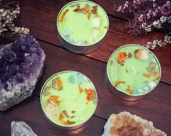 Money Spell Candle / Spell Candles for Prosperity, Abundance, Finance, Opportunity, Career, Job / Botanical Tealights / Money Candle Magick