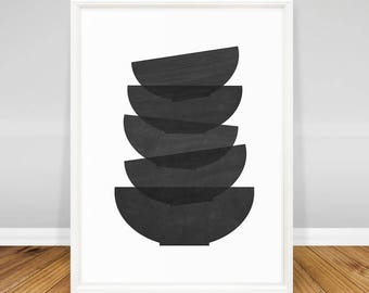 Modern Kitchen Art Print, Minimalist Wall Decor, Art for Kitchen Printable, Minimalist Poster, Modern Kitchen Decor, Black and White Art