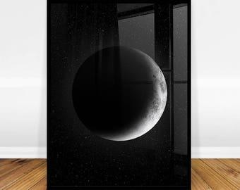 Moon Art Print, Digital Art, Moon Wall Art Print, Bedroom Poster, Space Print, Scandinavian Modern, Digital Print Download, Digital Download