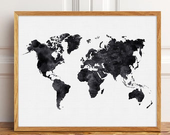 World map printable etsy extra large world map black and white poster printable world map print black wall decor bedroom large wall map of the world map download gumiabroncs Gallery