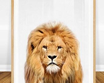 Lion Print, Safari Animals, Nursery Decor Baby, Boy Nursery Art, Printable Nursery Wall Decor, Baby Gift, Baby Boy, Nursery Wall Art Prints
