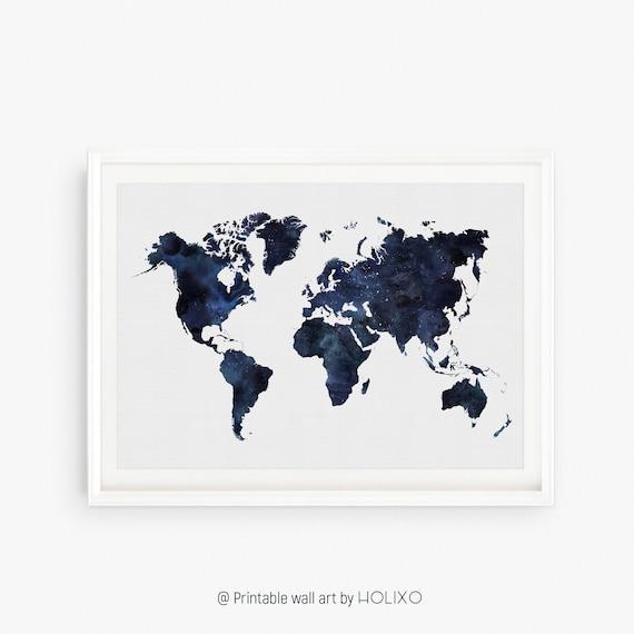 Blaue Weltkarte Druckbare Drucken Aquarell Weltkarte Drucken Etsy