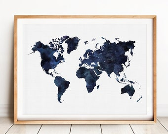 Blue World Map, Printable Art, Watercolour World Map Print, Navy Blue Print Art, Blue World Map Print, Map Of The World, Digital Map Print