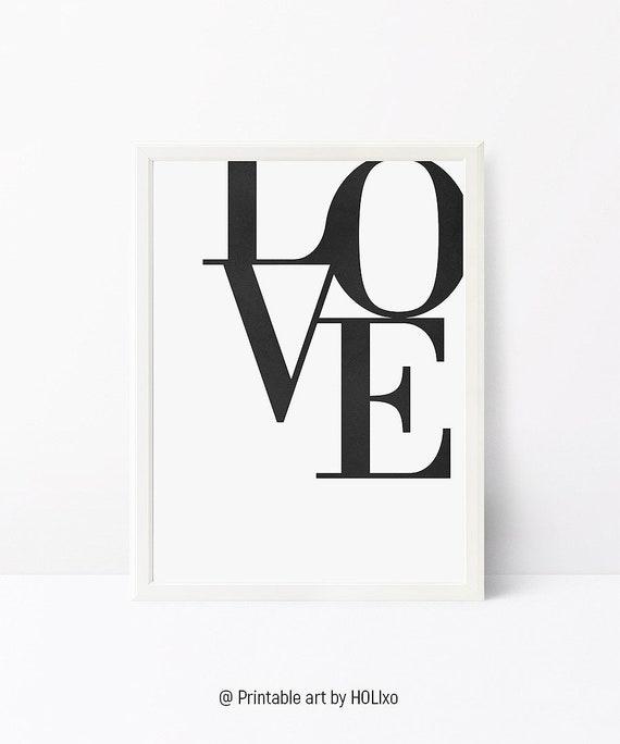 Love Print, Scandinavian Poster, Black and White Wall Art, Printable Wall Art Print Modern Minimalist Print Typographic Print Wall Art Print
