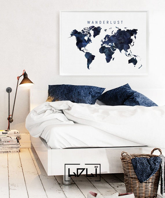 Blue world map printable watercolour world map print navy etsy image 0 gumiabroncs Images