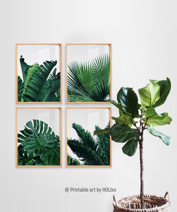 Impresión de hoja, conjunto de impresión botánica, impresión de hoja tropical, hoja de palma impresión banana hoja arte, hojas verdes imprimir arte de pared botánica, imprimible