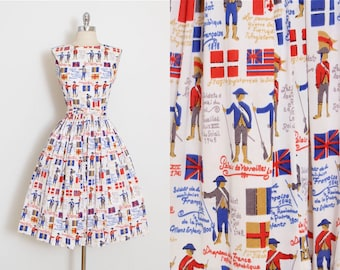 Novelty Vintage 1950's French Soldier Print Dress, XS/S