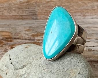 Vintage Designer Desert Rose Trading Company DTR Southwest Turquoise Sterling Silver Wide Band Ring 11.75-582616142