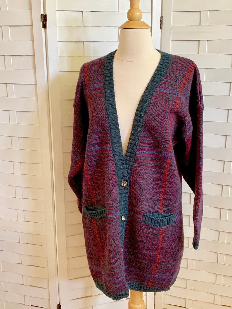 Vintage 1980's Abercrombie & Fitch wool cardigan sweater, 80's Abercrombie wool cardigan, vintage plaid cardigans, 80's wool cardigan