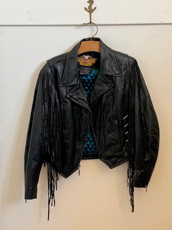 Women's vintage Harley Davidson fringed leather ja