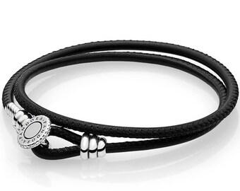 fa038129a Pandora moments double leather bracelet black size 38