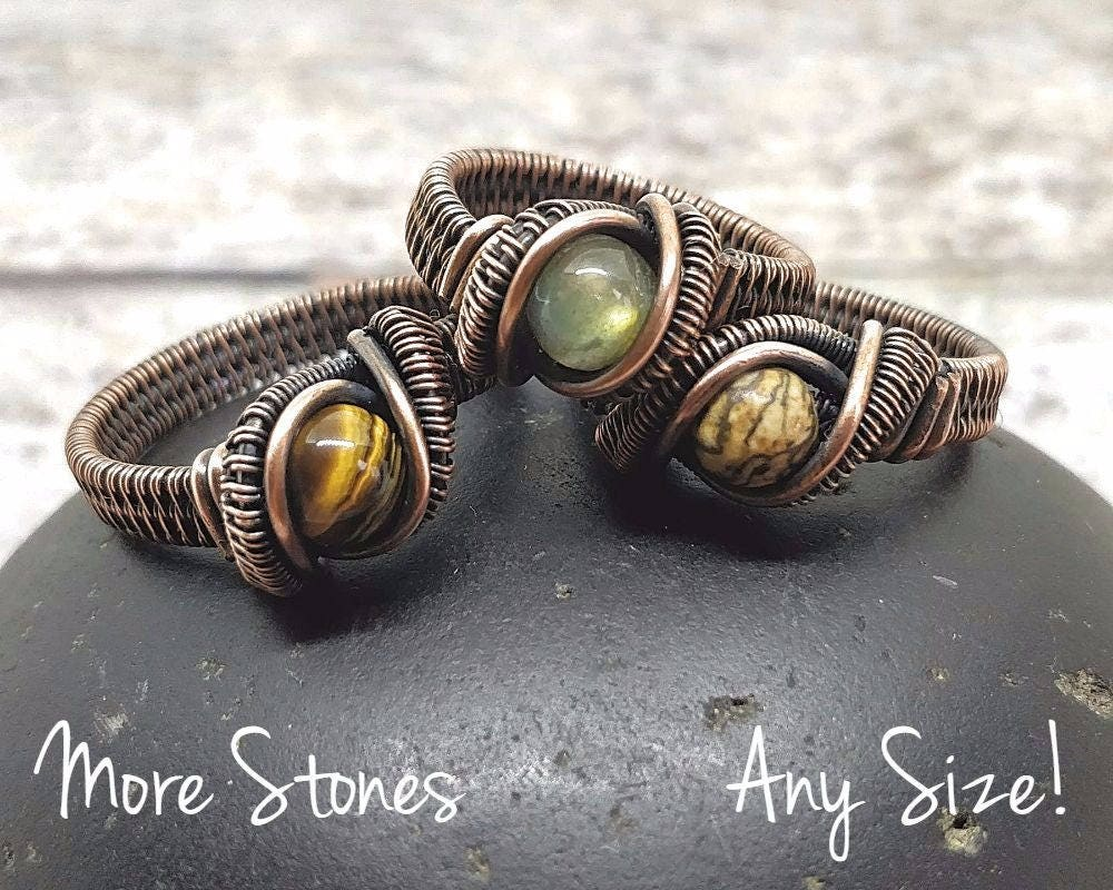 Oxidized Copper Heady Wire Wrapped Ring Custom Any Size Many