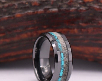Antler Crushed Turquoise Tungsten Mens Wedding Ring Tungsten Etsy