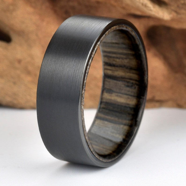 Ancient Siberian Bog Oak Wood Mens Wedding Ring Black Tungsten Etsy