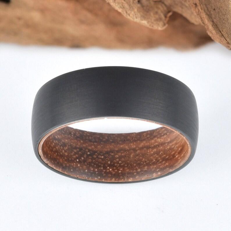 Mens Wedding Ring Koa Wood Black Tungsten Wedding Band Rings By Pristine