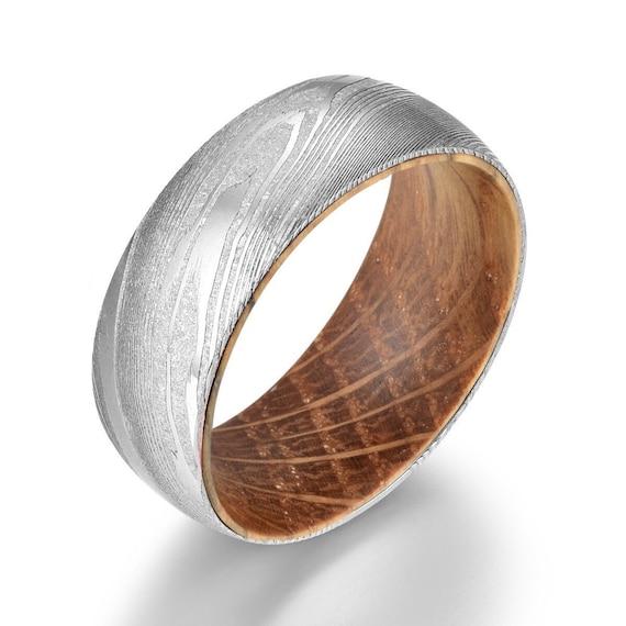 Wood Engagement Handmade Damascus Whisky Barrel Steel Ring Wood Wedding Band Wedding Band Anniversary Ring