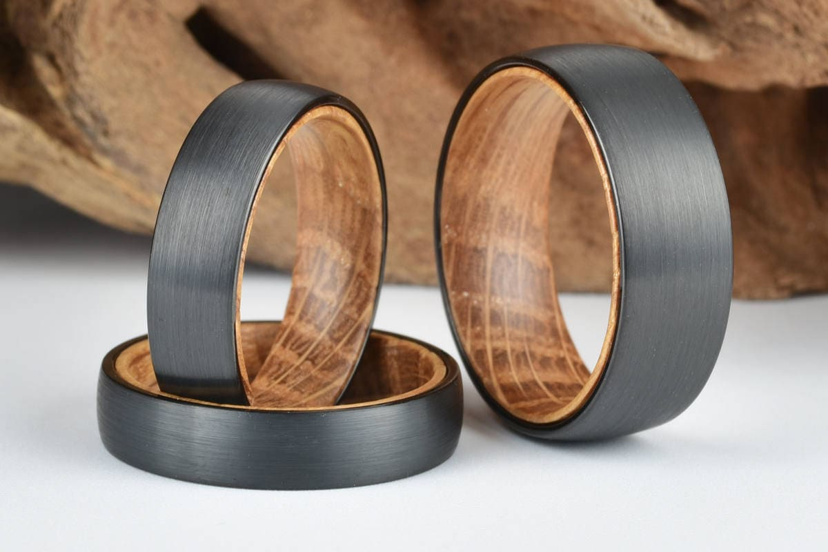 Whisky Barrel Mens Wood Wedding Band Black Tungsten Wood Ring Etsy