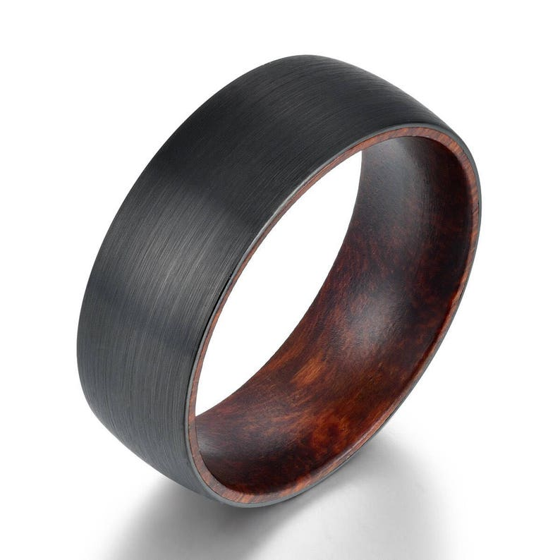 Snake Wood Tungsten Mens Wedding Band Wooden Ring Wood Mens Etsy