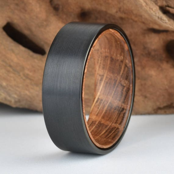 Whisky Barell Wood Mens Wedding Ring Black Tungsten Wood Ring Etsy