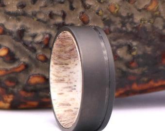 Antler Titanium Mens Wedding Band Gun Metal Grey Band Antler Sand Blasted Ring Mens Wedding Ring Custom Rings By Pristine