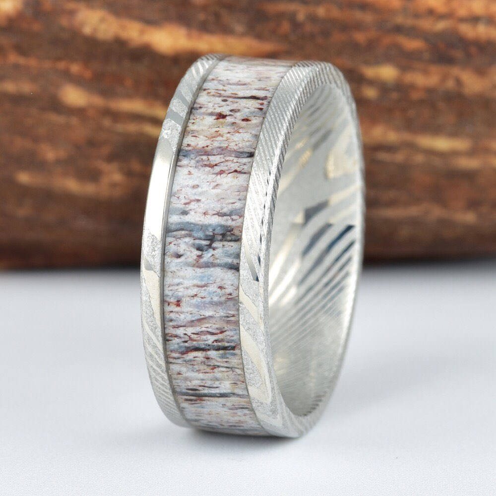 Damascus Twisted Steel And Antler Ring Mens Wedding Band