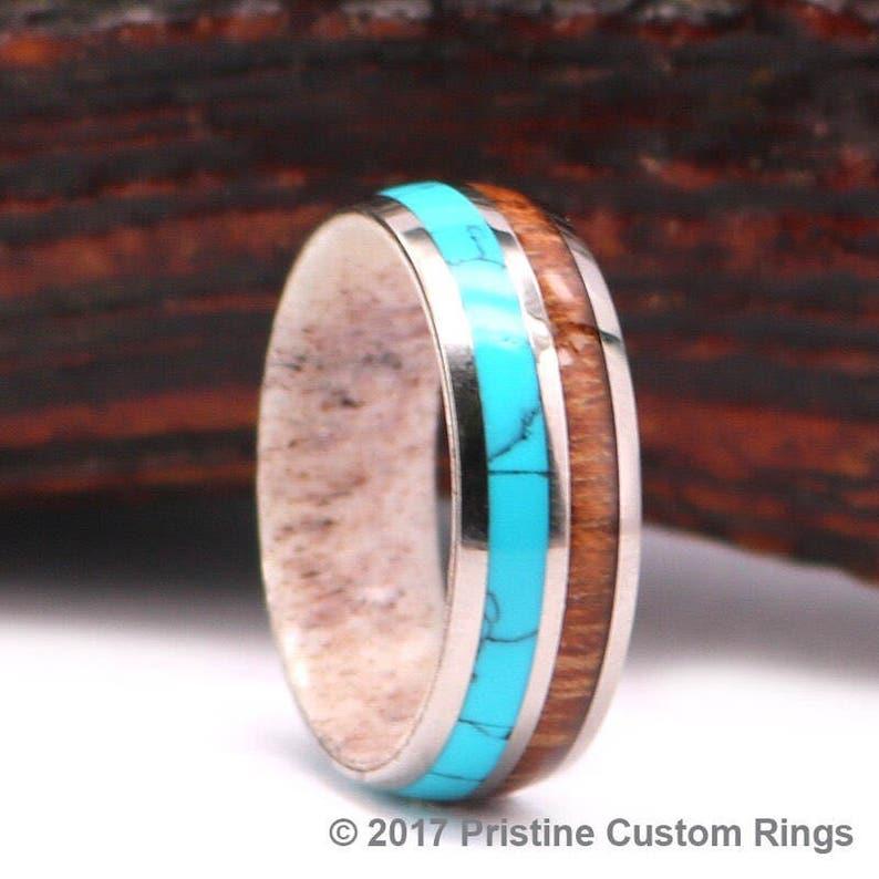 Antler Koa Wood Turquoise Titanium Mens Wedding Band Lined with Deer Antler Mens Wedding Ring Rings By Pristine