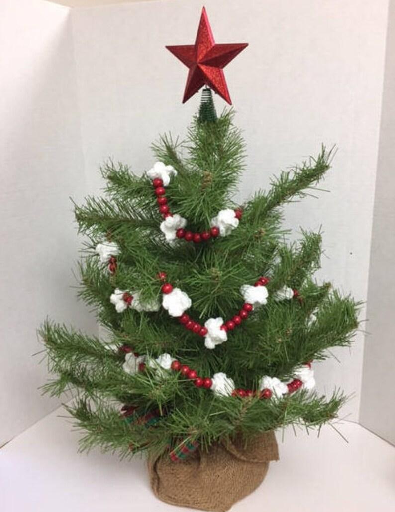 Red Christmas Tree Garland Christmas Crochet Popcorn Garland Etsy