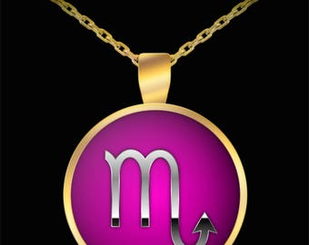 Scorpio Necklace - Zodiac Horoscope Astrology Sign Silver & Gold Plated Pendant
