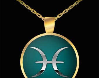 Pisces Necklace - Zodiac Horoscope Astrology Sign Silver & Gold Plated Pendant